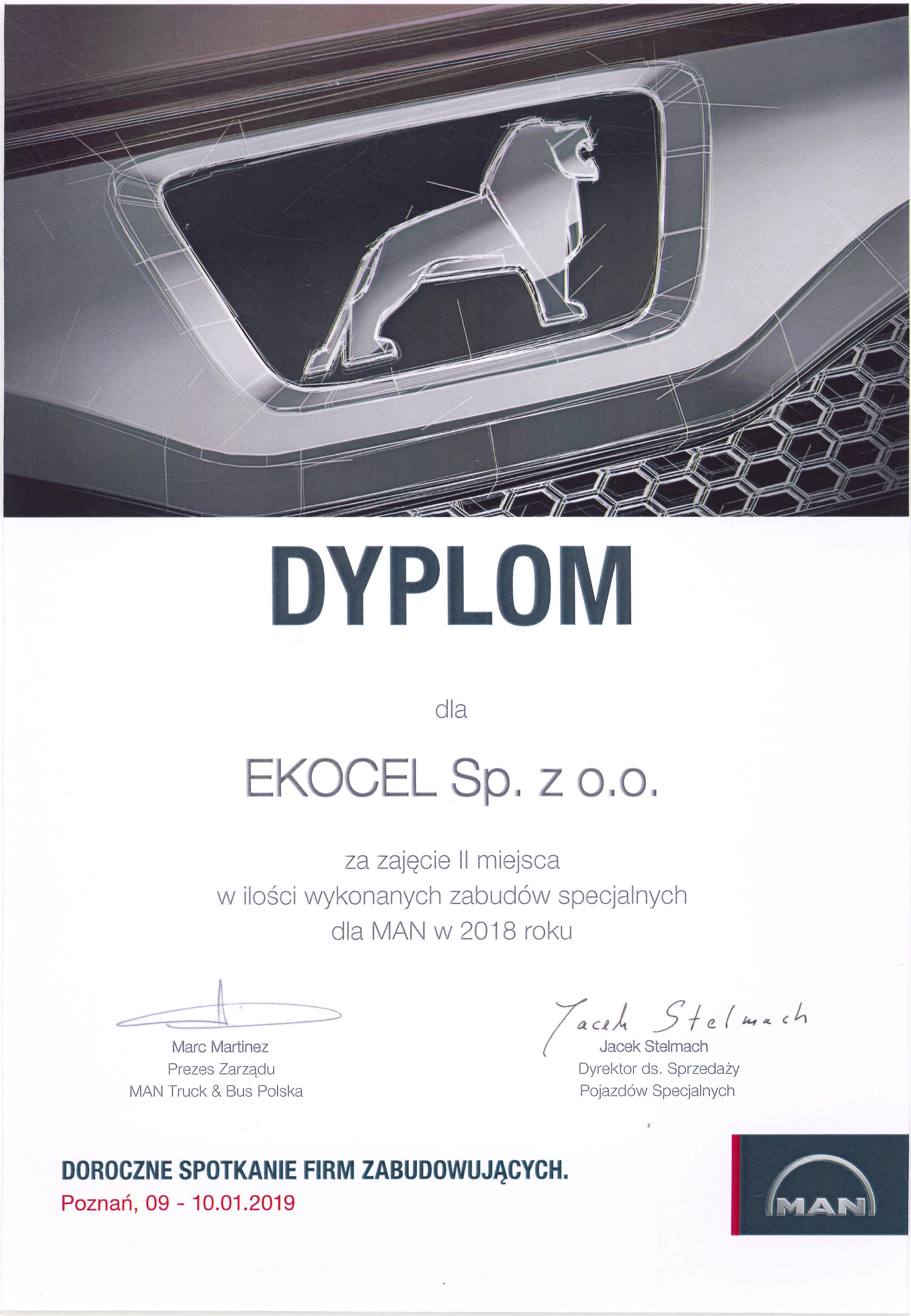 Dyplom dla EKOCEL od MAN