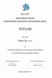 Dyplom dla Ekocel